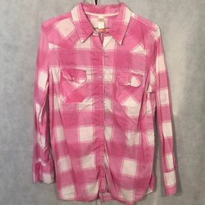 5 for $25-pink & white plaid button down shirt